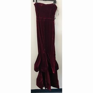 Symphony Velvet Burgundy Dress with Split